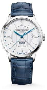 Baume & Mercier Classima 10272 Dual Time Stainless Steel& Alligator Strap Watch