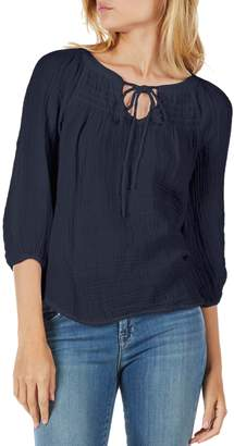 Michael Stars Smocked Yoke Peasant Top