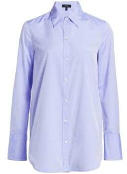 Theory Tuxedo Button Down Blouse