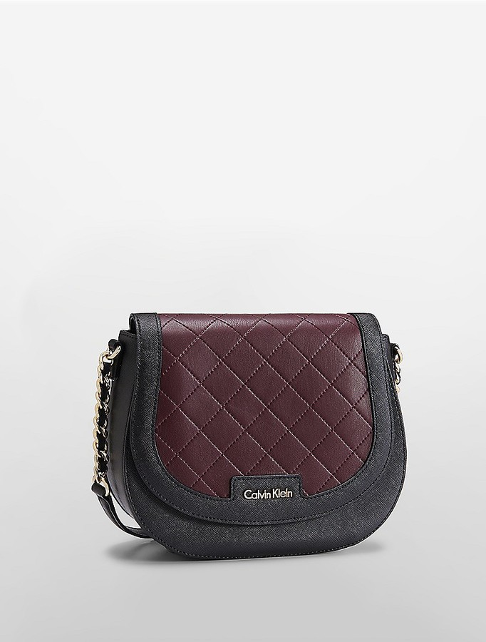 Calvin Klein Saffiano Leather Quilted Saddle Bag