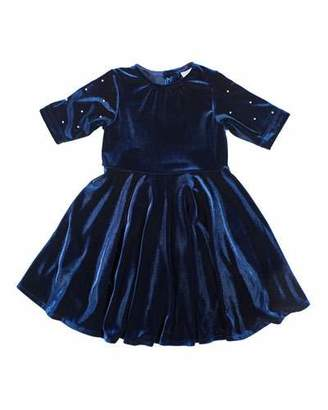 Florence Eiseman Girl's Stretch Velvet Dress w/ Pearly Beaded Sleeves, Size 7-10