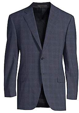 Canali Men's Classic-Fit Windowpane Wool Suit Jacket