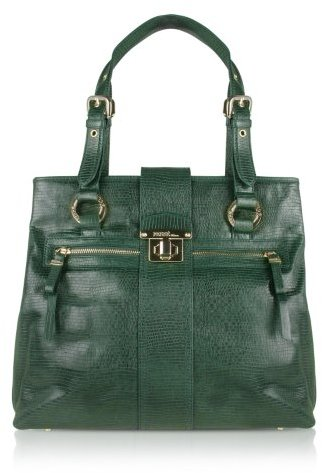 Ferre' Milano Menta - Green Reptile Stamped Leather Tote Bag