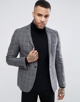 Asos Skinny Blazer In Gray & Burgundy Wool Mix Check