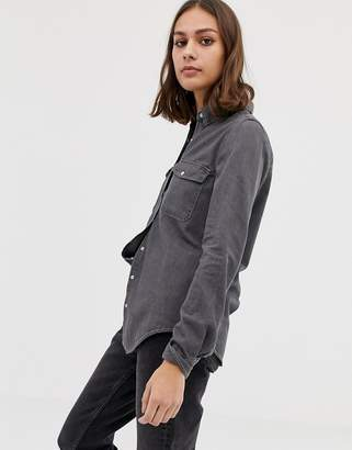Pull&Bear Fitted denim shirt in Washed Black