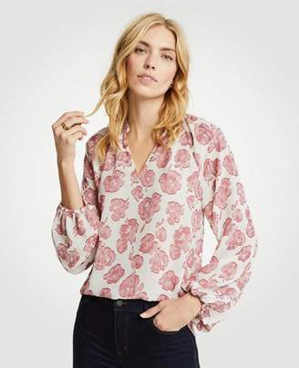 Ann Taylor Winter Floral Full Sleeve Blouse