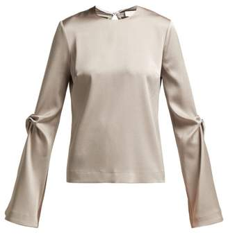 Galvan - Ruched Satin Blouse - Womens - Silver