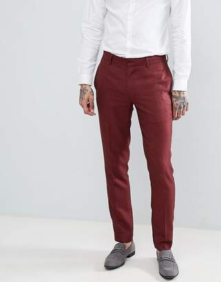 Asos DESIGN wedding skinny suit pants in wine micro texture
