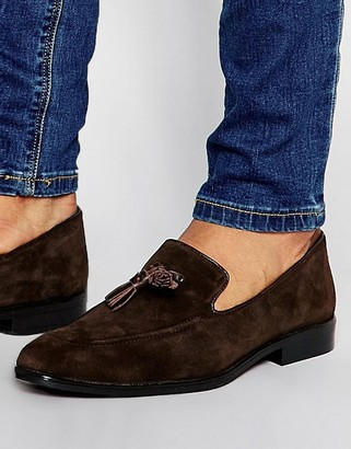 ASOS Loafers in Brown Suede With Tassel $61 thestylecure.com