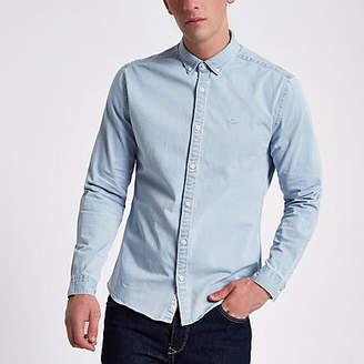 River Island Light blue wash muscle fit denim shirt