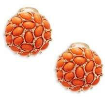Kenneth Jay Lane Coral Clip-On Button Earrings