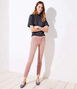 LOFT Modern Frayed Corduroy Skinny Pants