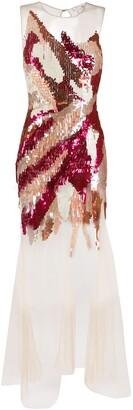 Elisabetta Franchi sequin embellished evening dress