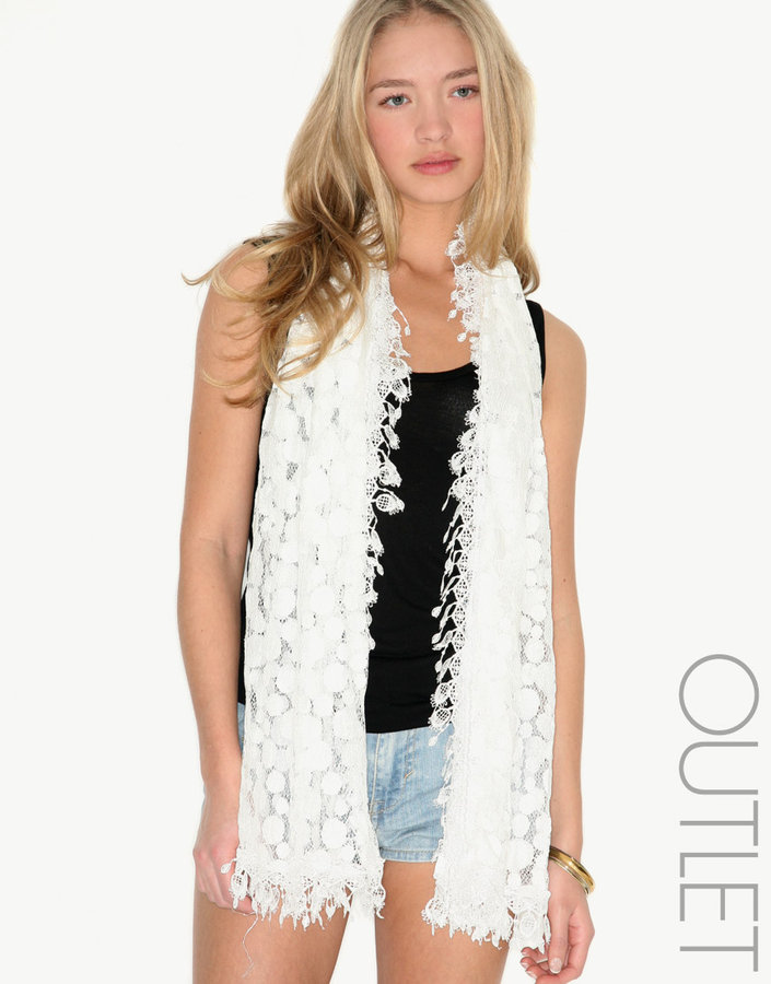 Clear Flirt Spot and Lace Fringe Scarf