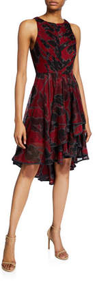 Halston Floral-Print Sleeveless High-Low Tulle Dress