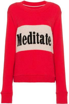 The Elder Statesman long sleeve cashmere sweater with slogan