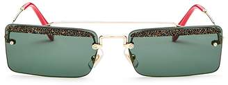 Miu Miu Women's Glitter Brow Bar Square Sunglasses, 58mm