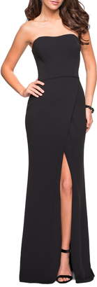 La Femme Strapless Jersey Evening Dress