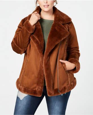 Style&Co. Style & Co Plus Size Faux-Shearling Moto Jacket