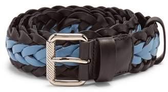 Prada Two Tone Braided Leather Belt - Mens - Blue Multi
