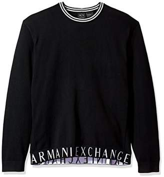 Armani Exchange A X Men's Crew Neck Sweater with Logo Banded Bottom