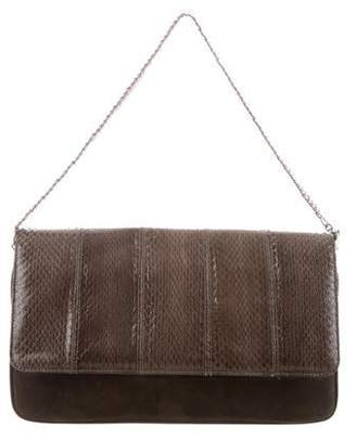 Barbara Bui Suede Snakeskin-Accented Shoulder Bag