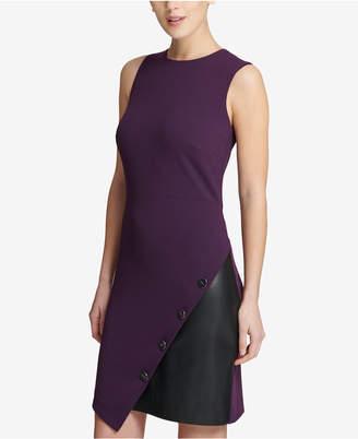 DKNY Asymmetrical Colorblocked Sheath Dress
