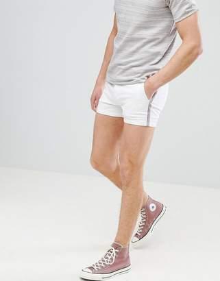 Asos DESIGN Skinny Shorter Shorts In White With Side Tape