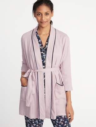 Old Navy Soft-Twill Tie-Belt Robe for Women