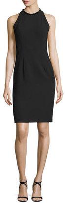 Carmen Marc Valvo Sleeveless Sheath Dress W/Back Cutouts, Black $595 thestylecure.com