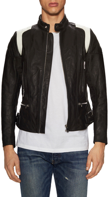 DieselL-Stone Leather Stand Collar Jacket