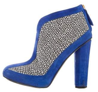 Aperlaï Suede Ankle Boots Blue Suede Ankle Boots