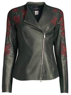 Lafayette 148 New York Aimes Embroidered Leather Moto Jacket