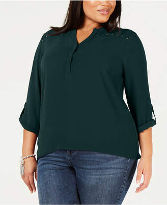 NY Collection Plus Size Embellished Roll-Tab-Sleeve Top