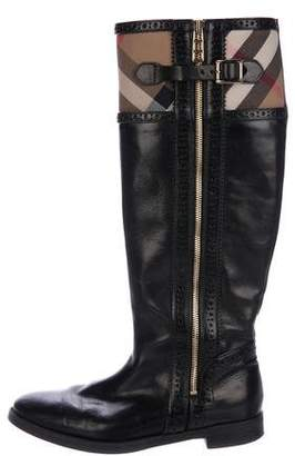 Burberry House Check Knee-High Boots