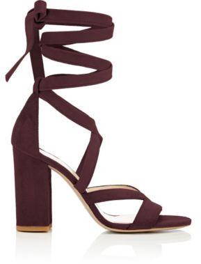 Barneys New York Women's Zea Ankle-Wrap Sandals-BURGUNDY $350 thestylecure.com
