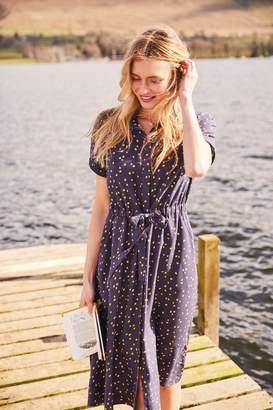 Joules Womens Blue Winslet Print Button Front Shirt Dress - Blue