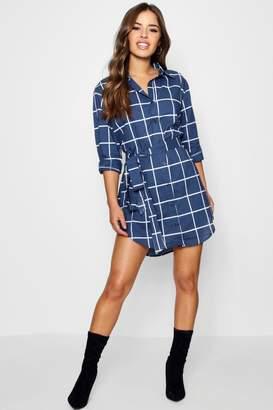 boohoo Petite Tie Waist Checked Shirt Dress