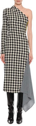 Off-White One-Shoulder Long-Sleeve Houndstooth Fitted Dress w/ Drape Detail