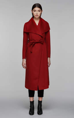 Mackage MAI belted double face wool coat with waterfall collar