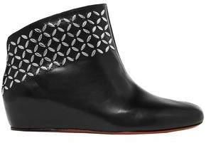 Alaia Studded Leather Wedge Ankle Boots