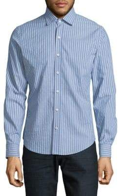 Izod Striped Woven Cotton-Blend Sportshirt