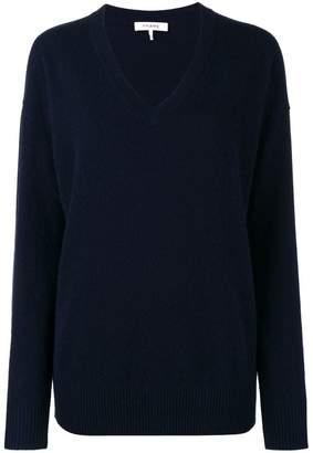 Frame Navy V-Neck Knitted Sweater