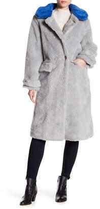 TOV Contrast Faux Fur Long Coat