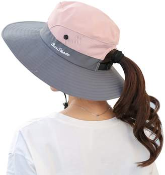 Muryobao Women s Summer Sun Hat Outdoor UV Protection Foldable Wide Brim  Bucket Boonie Hats Beach Safari 9f282bf900e1