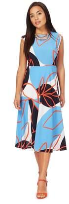 Ben de Lisi Principles Petite - Multi-Coloured Leaf Print Midi Length Skater Dress