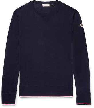 Moncler Slim-Fit Stripe-Trimmed Virgin Wool Sweater - Men - Navy