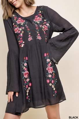 Umgee USA Floral-Embroidered Ruffle-Sleeve Dress
