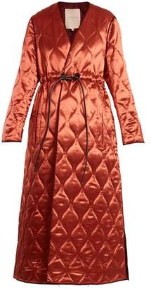 Roksanda Toledo V Neck Quilted Satin Coat - Womens - Pink