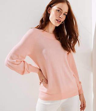 LOFT Petite Draped Sleeve Sweater